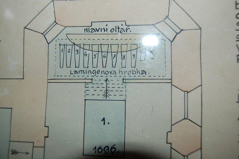 Plánek hrobky, v níž je pohřben Lomikar.