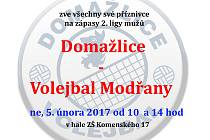 Pozvánka na zápas domažlických volejbalistů.