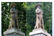 KOZINŮV POMNÍK NA HRÁDKU. Na levém snímku je pomník tak, jak byl před útokem vandalů, vpravo pak fotografie, jak vypadá v současnosti.