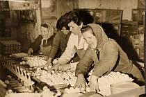 Ženy pracující v drůbežárně v Horšově v roce 1965.