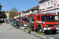 Prověřovací cvičení hasičů.