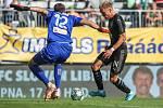 Utkaní 4. kola fotbalové FORTUNA:LIGY: MFK Karviná - SK Slavia Praha, 4. srpna 2019 v Karviné. Na snímku (zleva) brankář Karviné Libor Hrdlička, Mick van Buren.