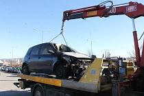 Osobní automobil značky Renault Megane hořel u Domažlické nemocnice.