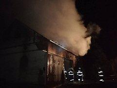 Požár stodoly.