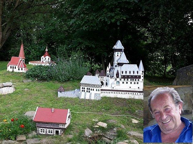 Alois Kubálek si čas v důchodu krátí tím, že staví miniatury hradů.