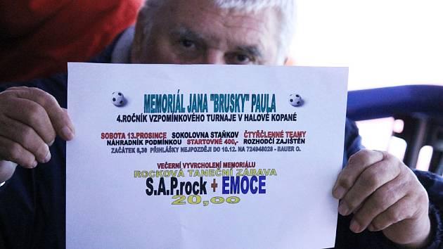 Pozvánka na 4. ročník Memoriálu Jana ´Brusky´ Paula ve Staňkově.