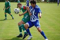 Z přátelského utkání třetiligové Jiskry Domažlice s divizním nováčkem FK Tachov ve Kdyni.