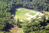 Letecký pohled na nový baseballový a softballový areál v Domažlicích.