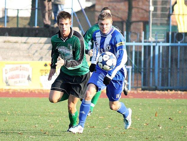 Po tomto úniku Jiří Bárta vstřelil druhý gól Jiskry Domažlice v utkání s Chomutovem.