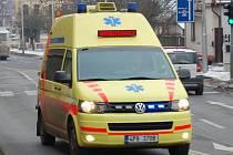Sanitka Zdravotnické záchranné služby v Domažlicích.