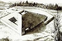 Původní návrh na monumentální památník z roku 1931 architekta Kamila Roškota.