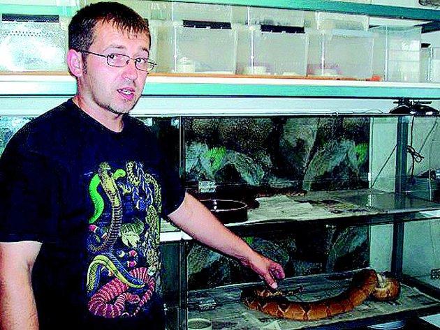 Václav Faina ukazuje své hady