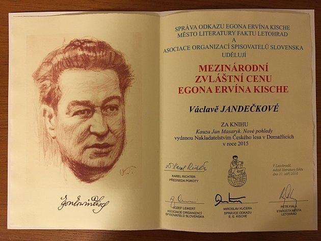 Ocenění pro Václavu Jandečkovou.