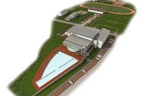 Vizualizace zachycuje celý přestavěný objekt včetně bazénu venkovního, který v chystaných 3 etapách prozatím postaven nebude.