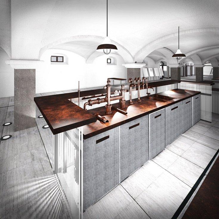 Plánovaný interiér přestavěného domažlického pivovaru.