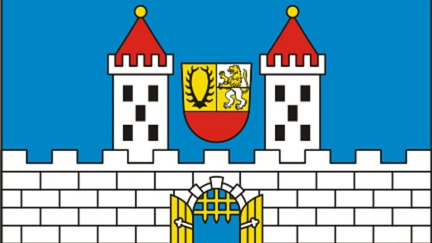 Schválená vlajka města Hostouň.