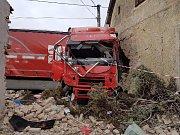 Nehoda kamionu v Klenčí pod Čerchovem.