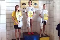 Ze závodu Zpívající fontány Mariánské Lázně. Na snímku je vítězná Aneta Müllerová a třetí Tereza Bozděchová.