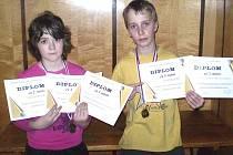 Na snímku jsou nejúspěšnější mládežníci oddílu stolního tenisu TJ Sokol Kdyně Karel Červenka a Kristýna Mlezivová.