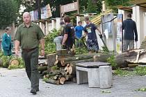 Kolemjdoucí mohli v úterý brzy ráno zaregistrovat, že před areálem dochází k úklidu spadlých stromů, o nějž se starali také přizvaní brigádníci. V popředí technik DML Josef Černý.
