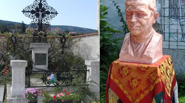 Baarův hrob na klenečském hřbitově a jeho bysta, která nesmí chybět při zahájení Pěší pouti z Klenčí do Furthu.