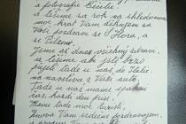 Část dopisu prapotomků emigrantů , kterým udržují vztah k Česku.