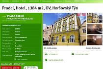 Na stránkách realitní kanceláře najdeme Hotel v Šumava v nabídce za 19 milionů a 600 tisíc korun.