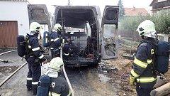 Požár dodávky v Horšovském Týně.