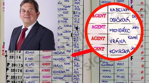 Jméno Jana Mendřece s označením Agent v Archivním protokolu agenturně operativních svazků Hlavní správy vojenské kontrarozvědky.