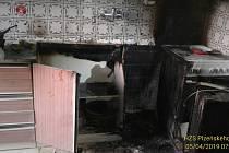 Požár v kuchyni rodinného domu v Němčicích.
