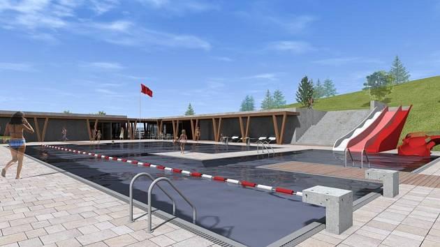 Vizualizace plánovaného koupaliště v Holýšově.