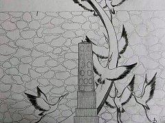 Náčrt kovaného pomníku.