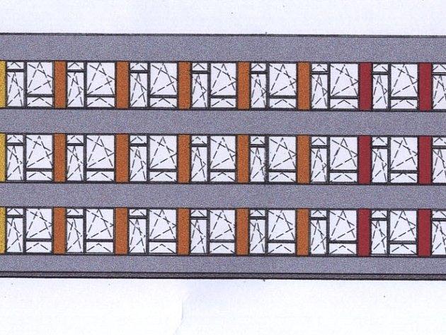 Cihlová, oranžová a žlutá barva na panelech oddělujících venkovní okna – to bude dominantní viditelná změna po dokončení zateplení a tvorby nové fasády základní školy v centru Domažlic.