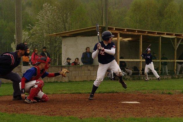 Z utkání juniorské extraligy v baseballu v Domažlicích.
