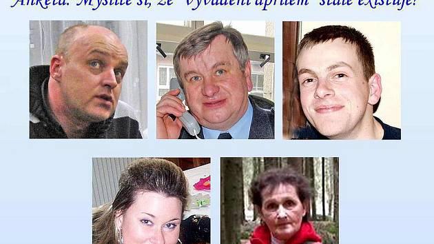 Anketa: Zleva nahoře Pavel Morysek, Otakar Roll, Martin Jurčo, dole pak Petra Frčková a Anna Zdeborová.