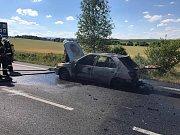 Požár a nehody u Mašovic.