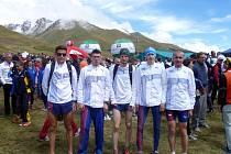 Český tým běžců s Martinem Freiem a Jiřím Vojákem na Mistrovství světa v běhu do vrchu v italském Ponte di Legnu.