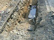 Dělníci ve Staňkově překopli při výkopech plynové potrubí.
