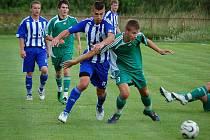 Z utkání třetiligové Jiskry Domažlice s divizním FK Tachov ve Kdyni.