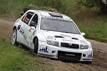 BANALITA ZASTAVILA na Horácké rally Škodu Fabii WRC Karla Trněného a Václava Pritzla.