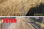 Srovnání zarostlého kolejiště v den nehody se záběry Správy železnice z 10. září.