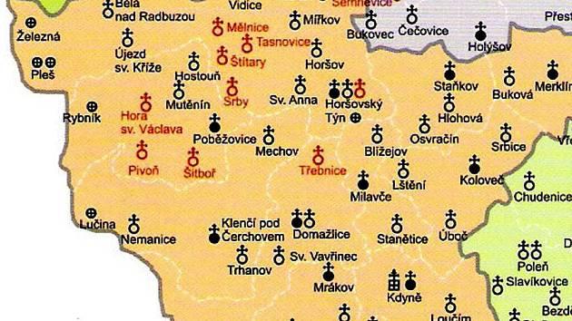 jak si stojí kostely na Domažlicku. Červeně jsou vyznačeny ty ohrožené.