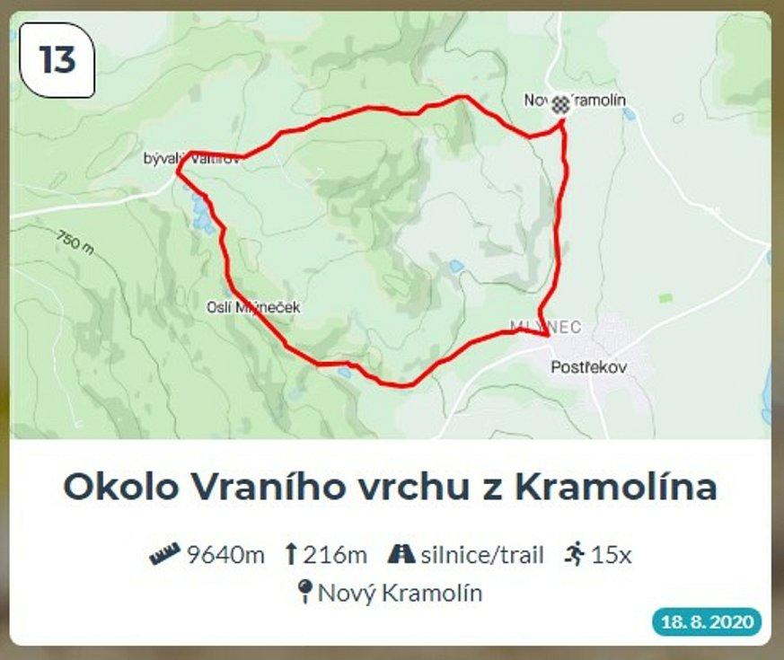 Běžci Chodska sobě: Trasa 13 - Okolo Vraního vrchu z Kramolína.