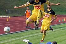 JISKRA HRAJE POHÁR. Chodové se v poháru dostali už třikrát mezi šestnáct nejlepších týmů v republice. Snímek je ze slavného vítězství nad Dynamem České Budějovice.