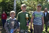 TŘI NEJLEPŠÍ v kategorii do 15 let – zleva Dominik Němec, Pavel Hájek, Zdeněk Pikal.