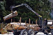 Z práce dřevařů. vyvážení dřeva z lesa provádí firma z Pece pomocí vleku, který má nosnost 11 tun a s kmeny manipuluje hydraulická ruka o dosahu 6,65 m.