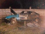 V půl desáté večer hasiči zasahovali v obci Horní Folmava u požáru autovrakuFoto: PČR