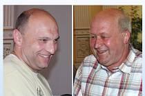 Nevoličtí dárci krve. Vpravo stonásobný Josef Cvačka, vlevo čtyřicetinásobný Václav Ticháček.