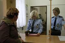 Policistka Anna Šimáčková (uprostřed) vyřizuje žádosti na Inspektorátu cizinecké policie v Domažlicích. O Projekt dobrovolných návratů, který cizincům ve finanční tísni zaplatí letenku zpět do vlasti a přidá 500 euro, však dosud nikdo zájem neprojevil.