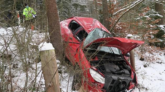Řidička se lekla srnky, vjela do příkopu a narazila do stromu